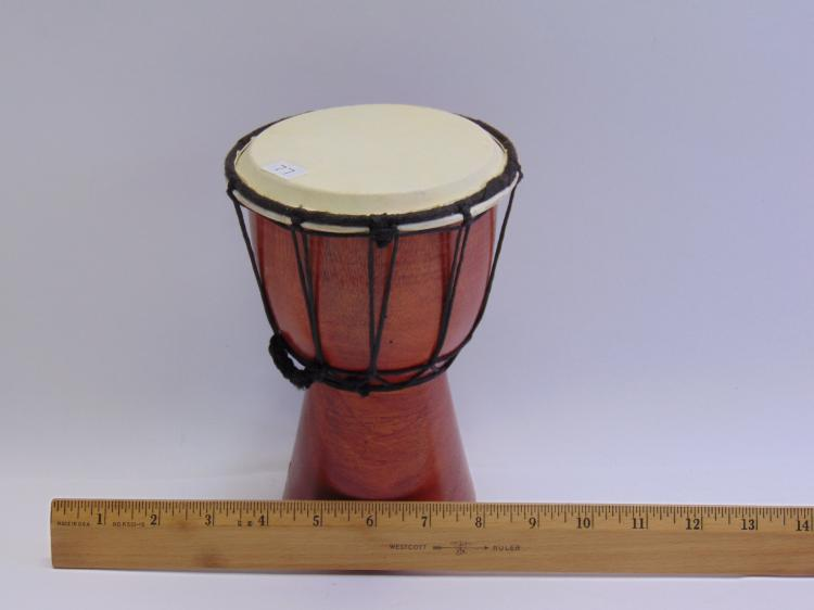 Lot 77: Carved Wood African Djembe Drum