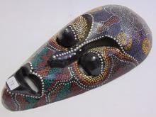 Lot 78: Carved Wood Hand Painted Indonesian Turtle Mask