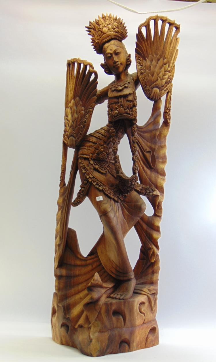Beautiful Tall Balinese Intricately Hand Carved Dancing Woman Statue