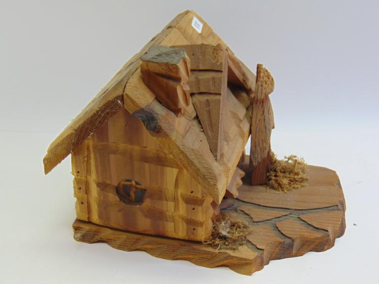 Hand Carved Log Cabin Bird House