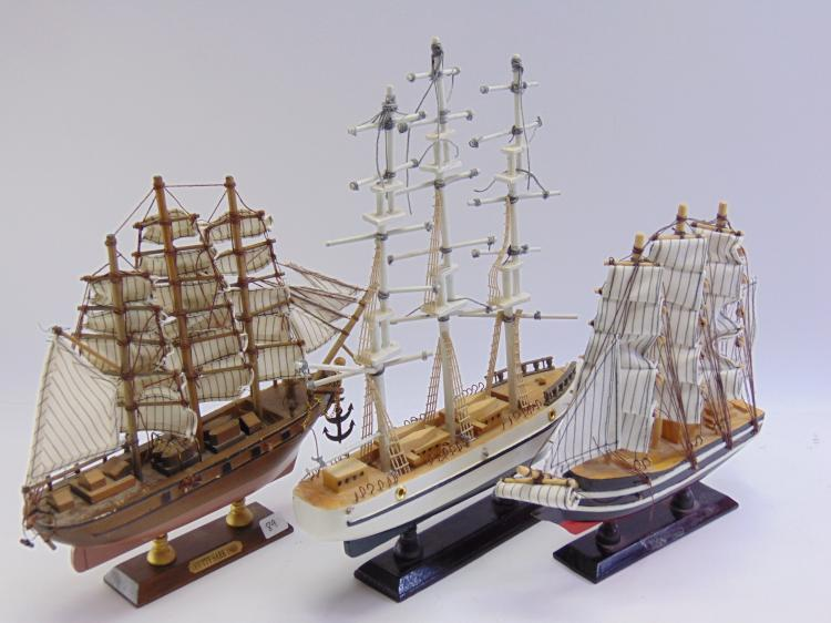 Lot of 3 Carved Wood Model Sailing Ships Including the Cutty Sark