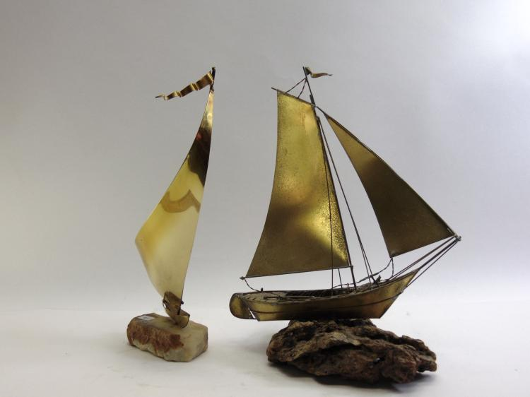 Lot of 2 Brass & Copper Sail Boat Sculptures on Stone Bases One Signed De Mott