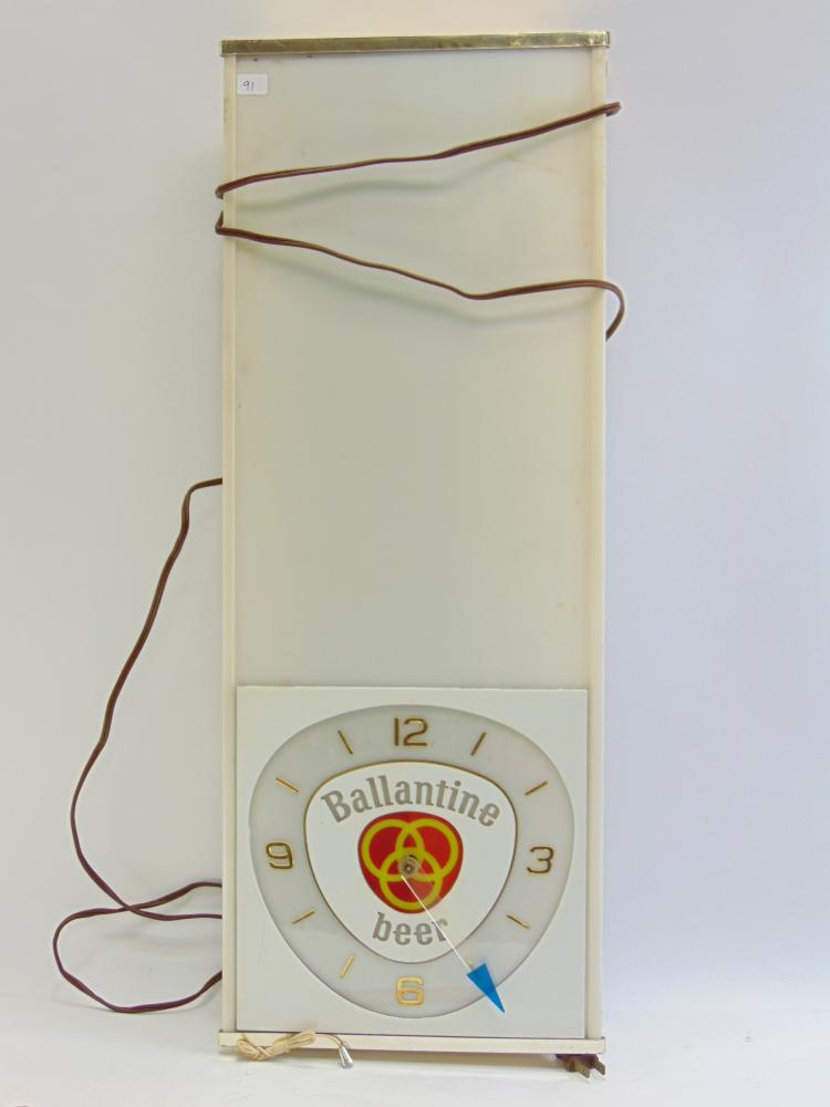 Vintage Neon Products Inc. Ballantine Beer Lighted Clock Advertising Sign