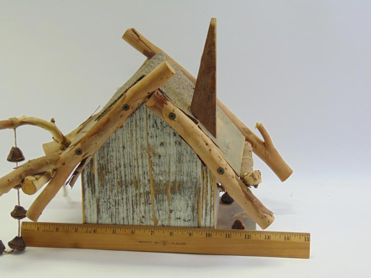Lot 92: Rustic Hand Crafted Mixed Media Wood Birdhouse
