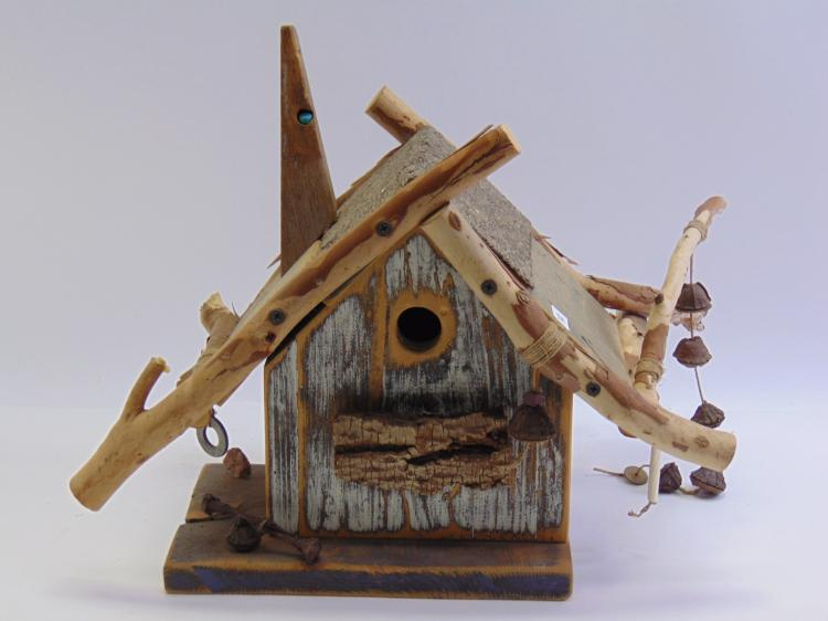 Rustic Hand Crafted Mixed Media Wood Birdhouse