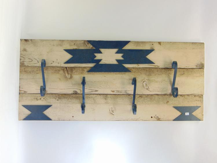 Rustic Southwestern Barn Wood and Wrought Iron Wall Mounted Coat Hanger Rack