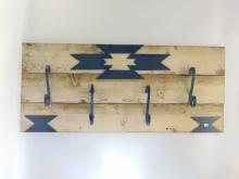 Lot 94: Rustic Southwestern Barn Wood and Wrought Iron Wall Mounted Coat Hanger Rack
