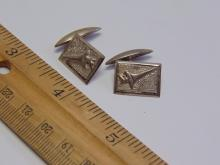 Lot 97: Vintage Sterling Silver Signed Olympic Torch Cuff Links