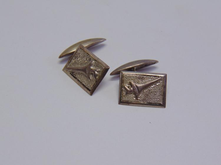 Vintage Sterling Silver Signed Olympic Torch Cuff Links