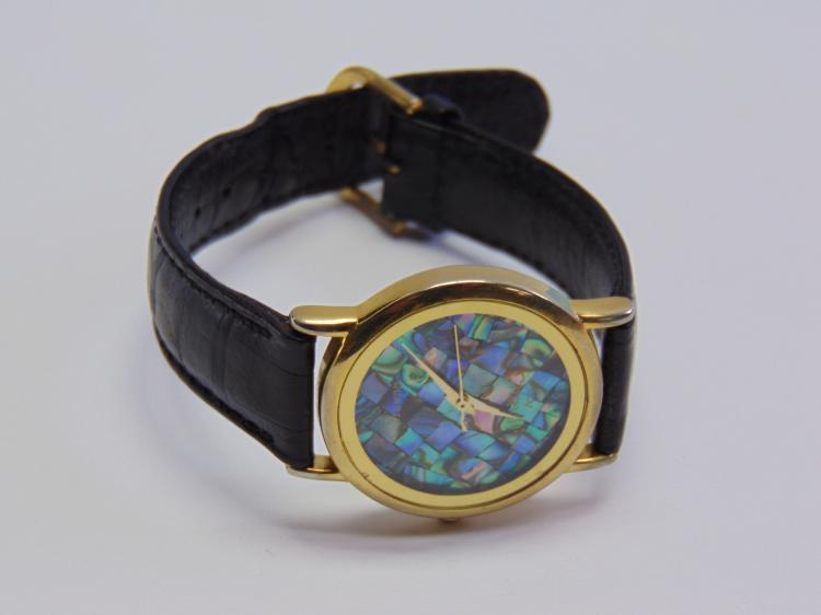 Cheval Watch with a Mother of Pearl Face and Genuine Leather Band