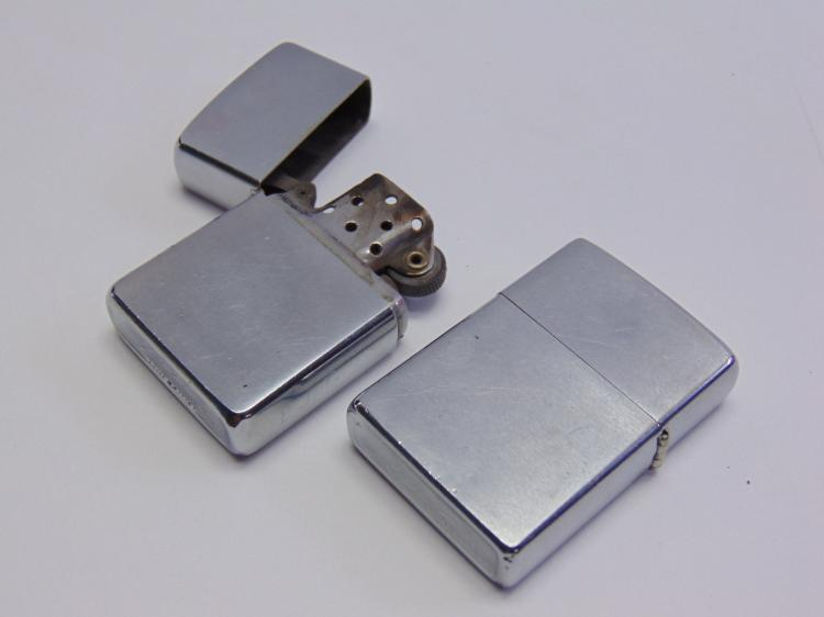 Lot of 2 Vintage Stainless Steel Zippo Lighters