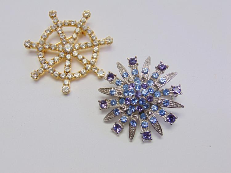 Lot of 2 Costume Jewelry Rhinestone Brooches