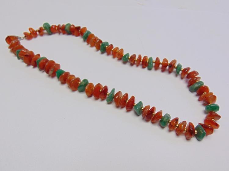 "19.5"" Carnelian and Jadeite Polished Stone Necklace"