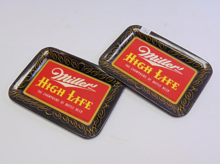 Lot of 2 Vintage Thomas Schutz Tin Litho Miller High Life Tip Trays