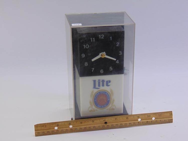 Lot 108: Vintage Miller Lite Advertising Lighted Cube Clock