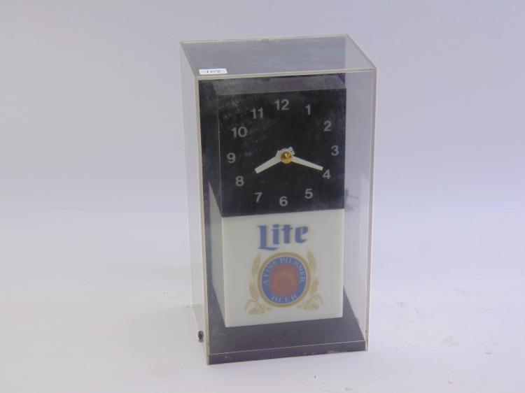 Vintage Miller Lite Advertising Lighted Cube Clock