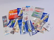 Lot 116: Large Lot of Vintage NOS Fishing Tackle Lures, Line, Leaders & Hooks