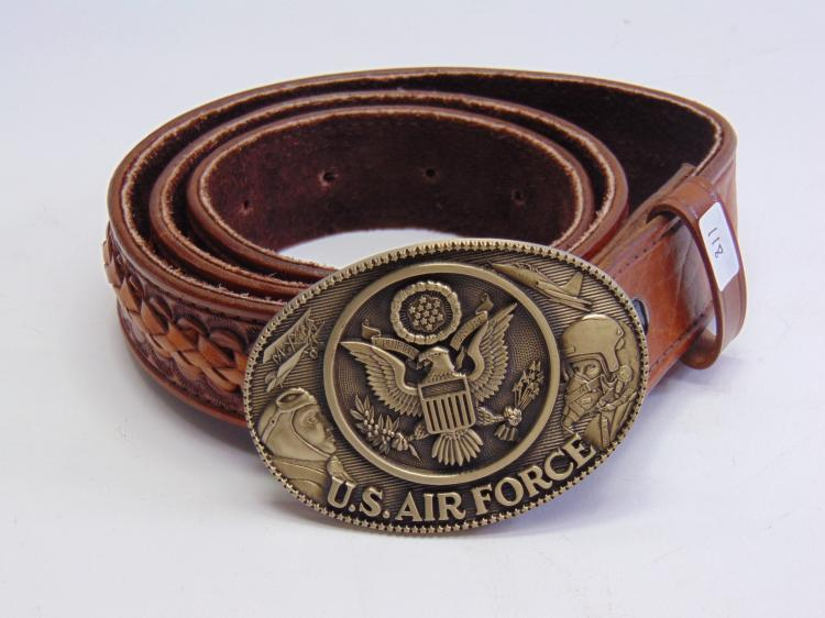Brass U.S. Air Force Buckle on a Mexican Tooled and Braided Leather Belt Sz 38