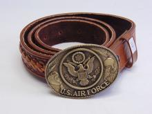 Lot 118: Brass U.S. Air Force Buckle on a Mexican Tooled and Braided Leather Belt Sz 38