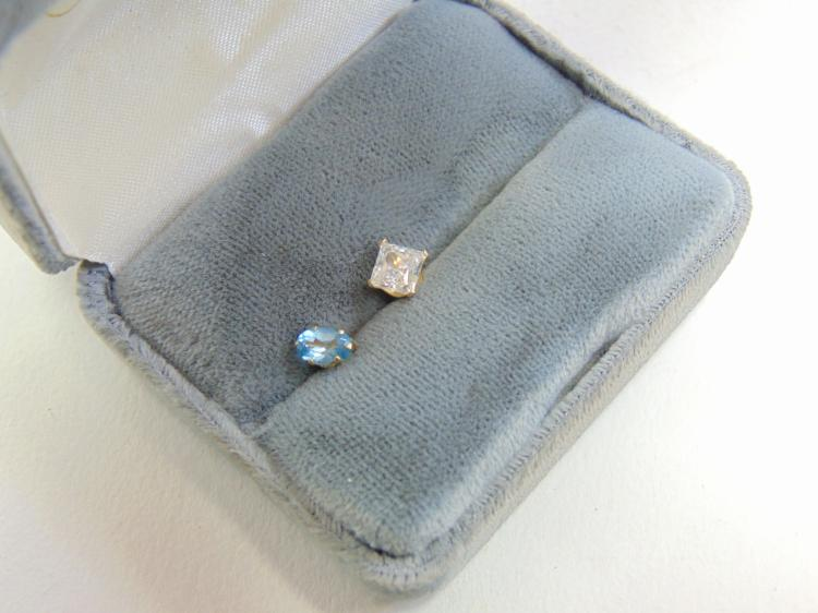 14K Yellow Gold Mismatched Stud Post Earrings Blue Topaz & Cubic Zirconia