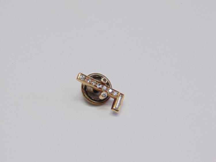 1.1 Gram 14K Gold & Diamond F Signed Tie Tack