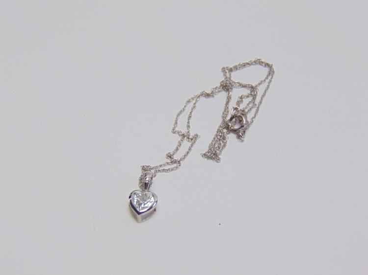 "Lot 127: 1.1 Gram 10K White Gold Fine 17"" Chain & Cubic Zirconia Heart Pendant Signed JTS"