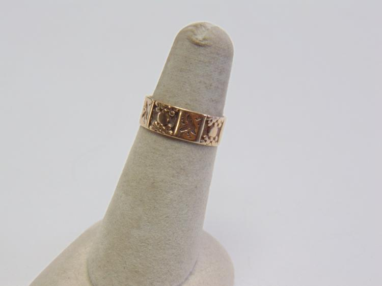 2.1 Gram 8K Yellow Gold Etched Band Ring Sz 6.5