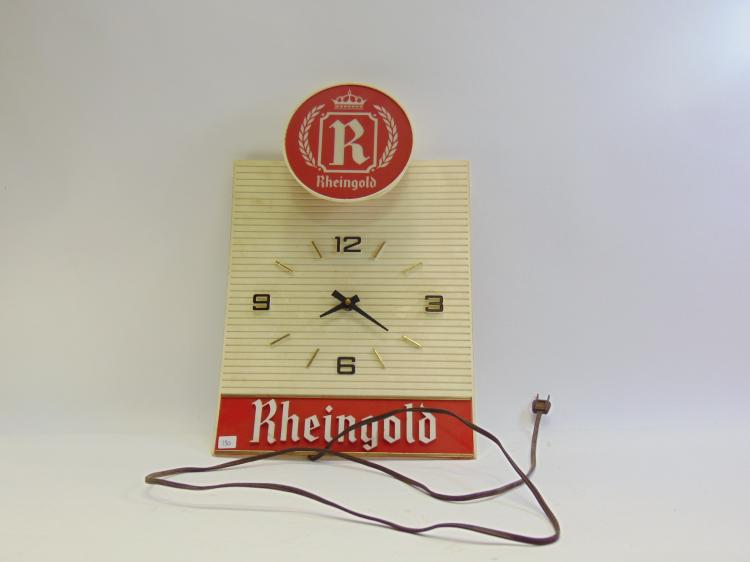 Vintage Polytech Display Corp. Rheingold Beer Advertising Lighted Clock