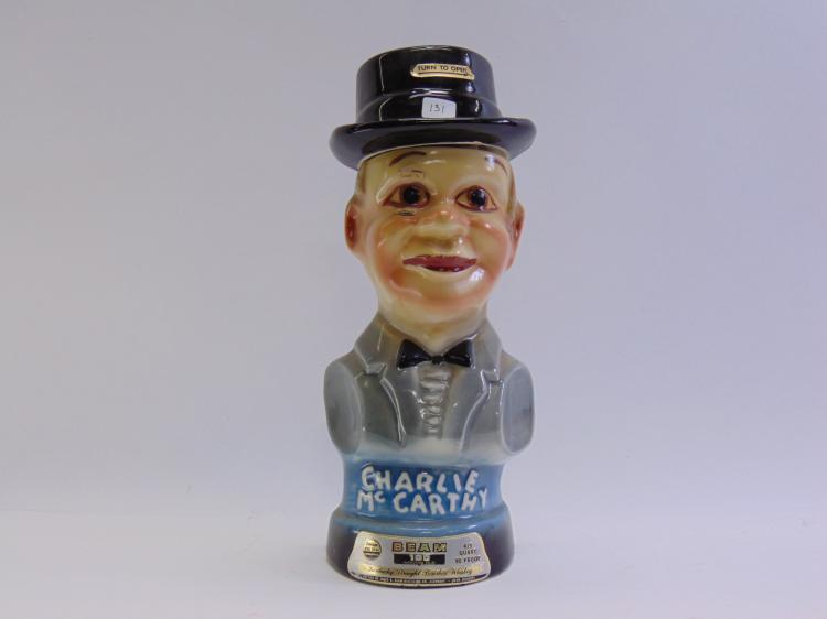 Vintage Jim Beam Charlie McCarthy Bust Decanter