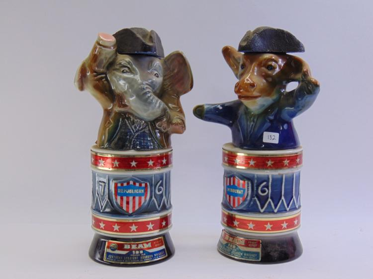Lot of 2 Vintage  Jim Beam Democrat Donkey and Republican Elephant Decanters
