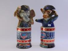 Lot 132: Lot of 2 Vintage Jim Beam Democrat Donkey and Republican Elephant Decanters
