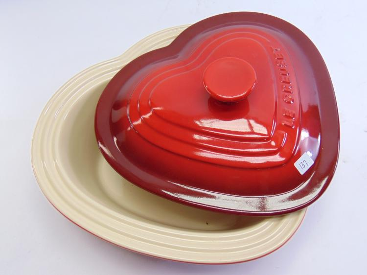 2 1/2 Qt. Le Creuset Stoneware Red Heart Lidded Casserole Dish