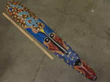 Lot 138: Large Carved Wood and Hand Painted Indonesian Snake Tribal Mask