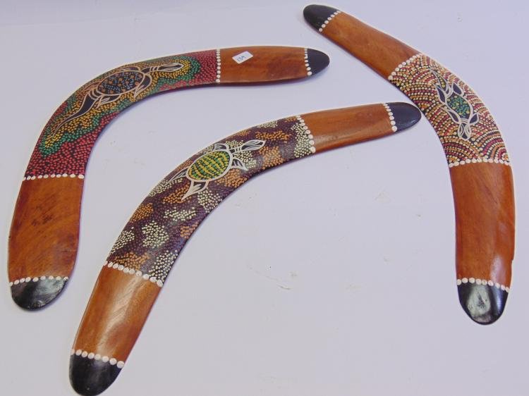 Lot 139: Hand Made Indonesian Tribal Turtle & Lizard Painted Boomerang Lot of 3