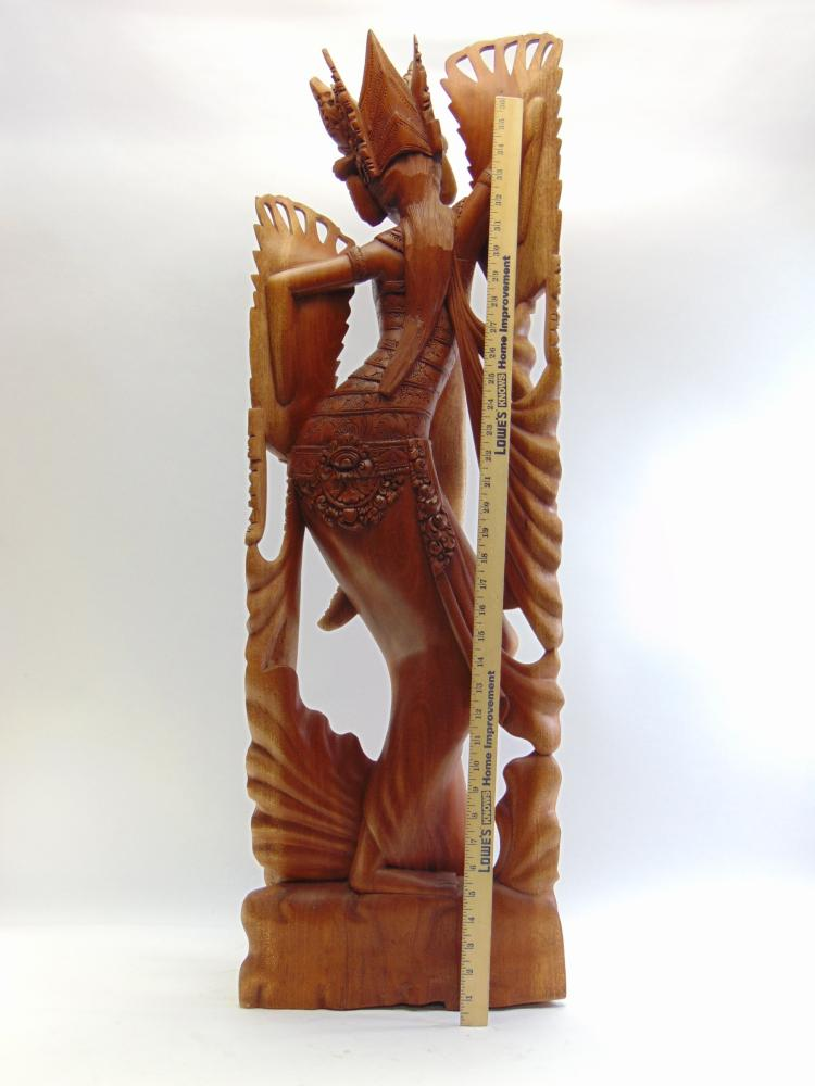 Lot 140: Beautiful Tall Balinese Intricately Hand Carved Dancing Woman Statue