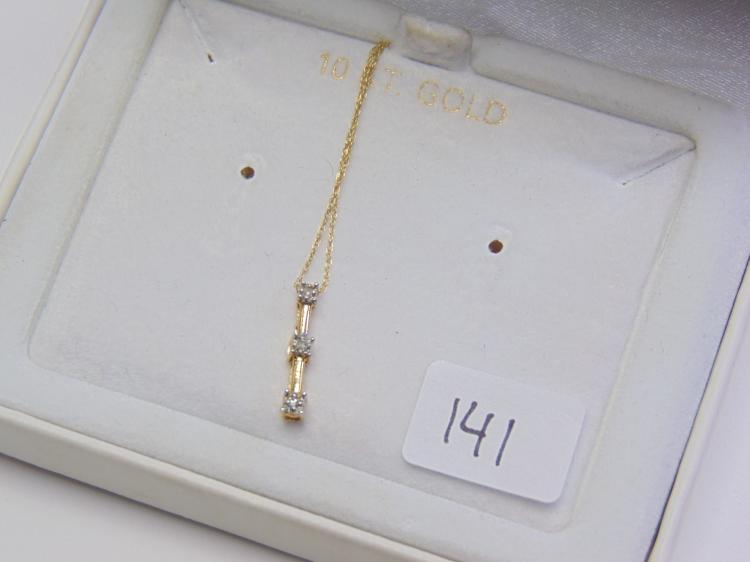 10K Gold Fine Chain and Diamond Pendant New in Crescent Jewelers Box