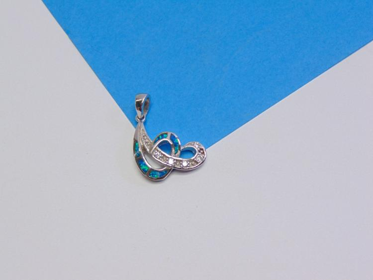 Sterling Silver Lab Created Opal and Diamond Pendant