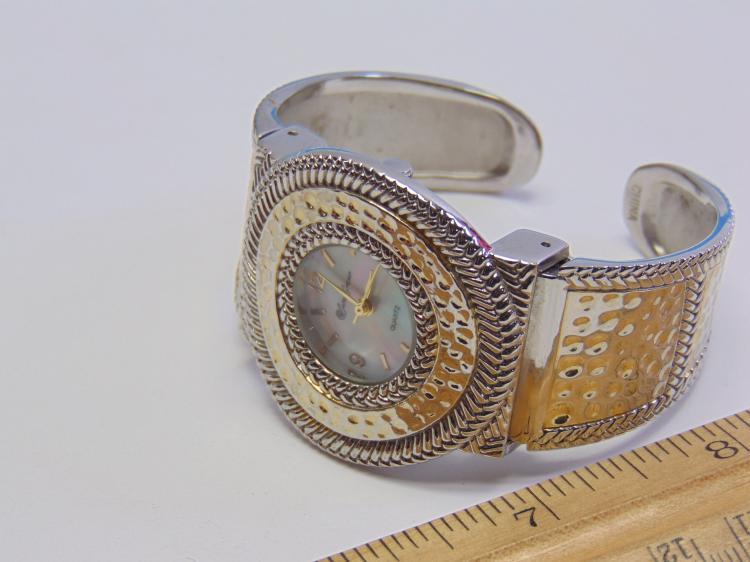 Lot 148: Susan Graver Quartz Costume Jewelry Cuff Watch