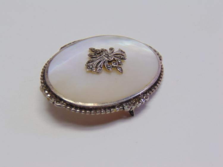 Lot 149: Vintage Sterling Silver Mother of Pearl & Marcasite Brooch