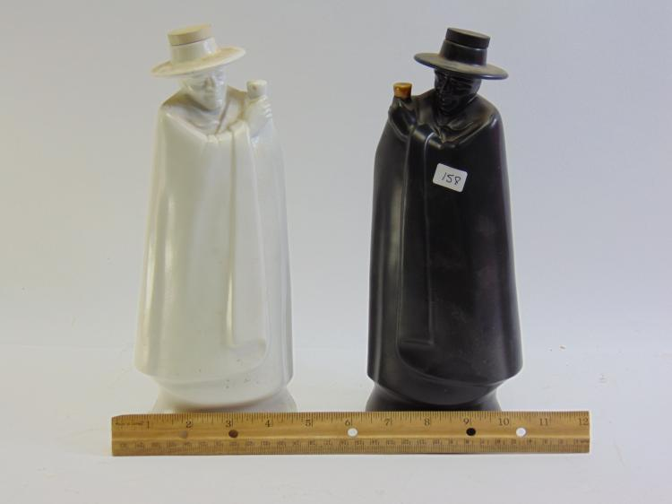 Lot 158: Vintage Lot of 2 Wedgwood Black and White Figural Decanters