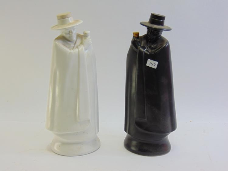 Vintage Lot of 2 Wedgwood Black and White Figural Decanters