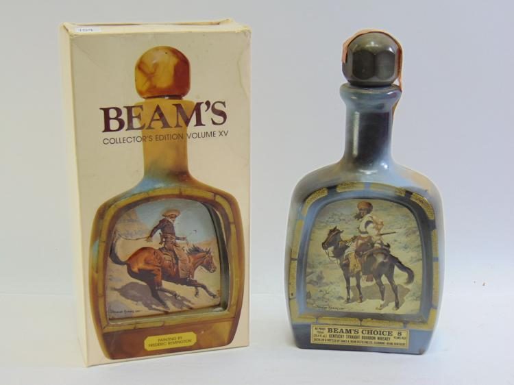 Vintage Lot of 2 Jim Beam's Choice Frederic Remington Decanters One Sealed and in Box