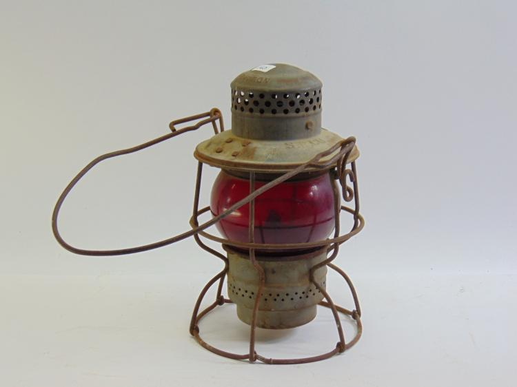 Vintage Adlake Kero S.P. Co Railroad Lantern & Red Glass Globe