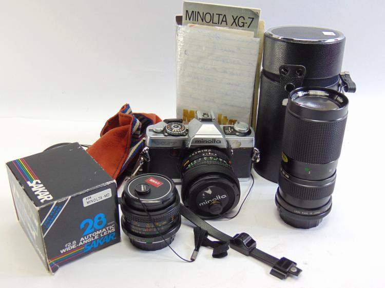 Vintage Minolta XG7 35mm Camera, Papers, Rokkor 50mm, Vivitar 100-200mm, & Sakar 28mm Lenses