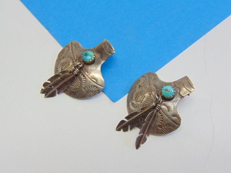 Lot 163: Vintage Sterling Silver and Turquoise Navajo Vase Earrings with Dangling Feathers