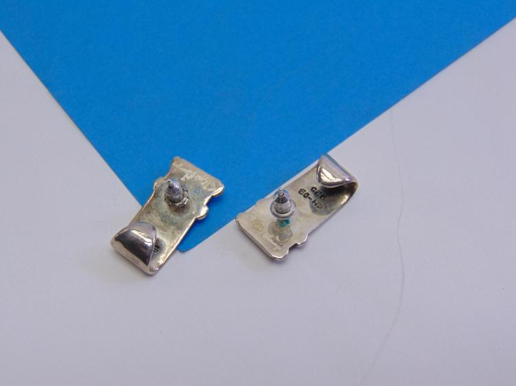 Lot 164: Vintage Mexican Sterling Silver CH-03 Signed Post Earrings