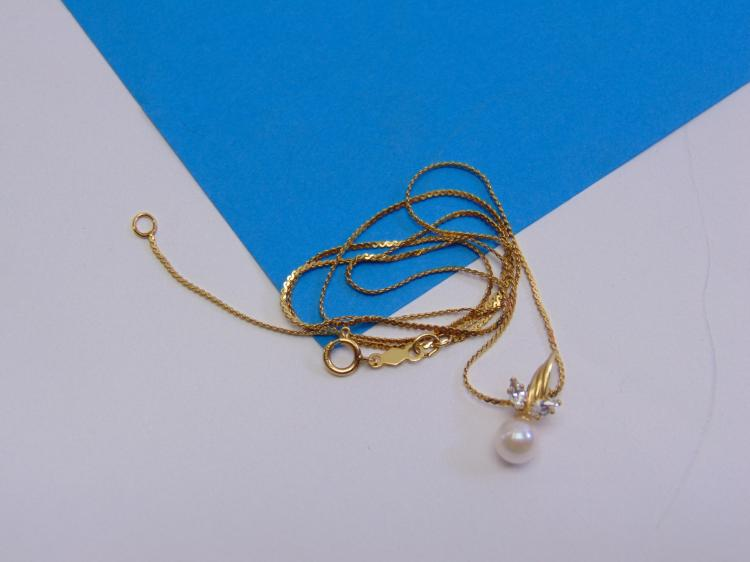 "14K Gold Filled 18"" Chain, Pearl & Cubic Zirconia Pendant"