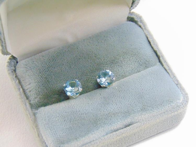 Sterling Silver Man Made Aquamarine Stud Post Earrings