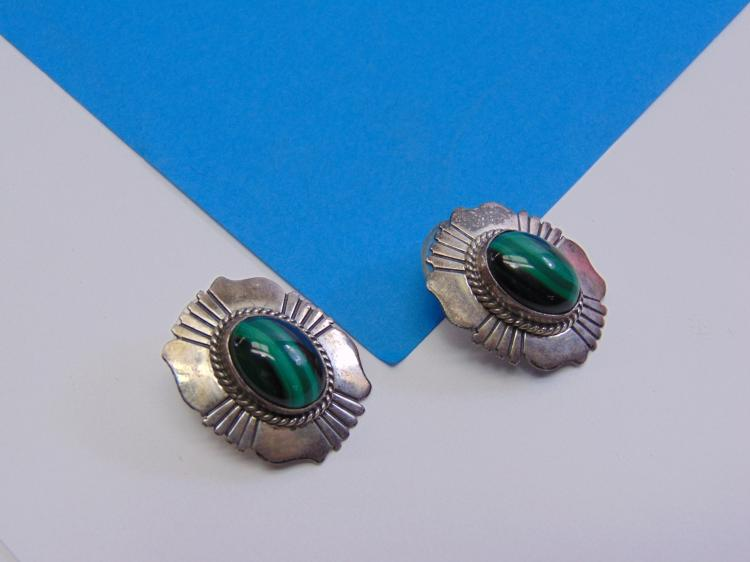 10.7 Gram Will Denetdale Signed Navajo Sterling Silver & Green Malachite Post Earrings