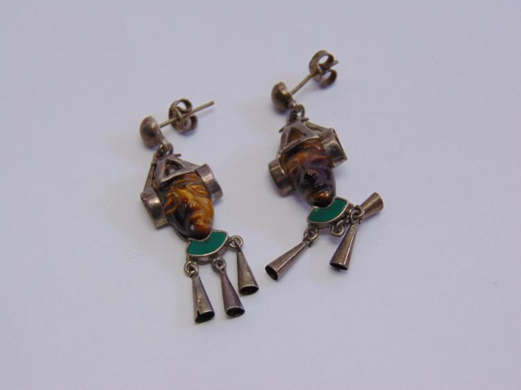 Vintage Sterling Silver Taxco TV-12 Mexican Mayan Face Earrings